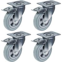 """160mm 6"""" castor grey rubber swivel with brake strong 540kg capacity,"""