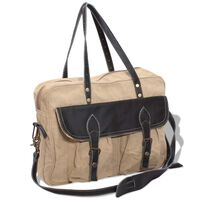 vidaXL Hand Bag Canvas and Real Leather Beige
