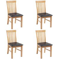 vidaXL Dining Chairs 4 pcs Solid Oak Wood and Faux Leather