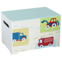 Worlds Apart Toy Box Trucks and Tractors 60x39x39 cm White WORL230009
