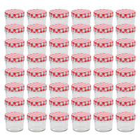 vidaXL Glass Jam Jars with White and Red Lids 48 pcs 110 ml
