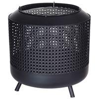 ProGarden Fire Basket With BBQ Grid 50x51 cm Black