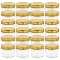 vidaXL Glass Jam Jars with Gold Lids 24 pcs 110 ml