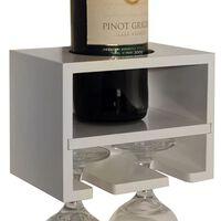 CABERNET - Wall Mounted Floating Wine Bottle / 2 Glass Rack - White