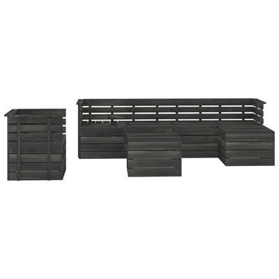 vidaXL 7 Piece Garden Pallet Lounge Set Solid Pinewood Dark Grey