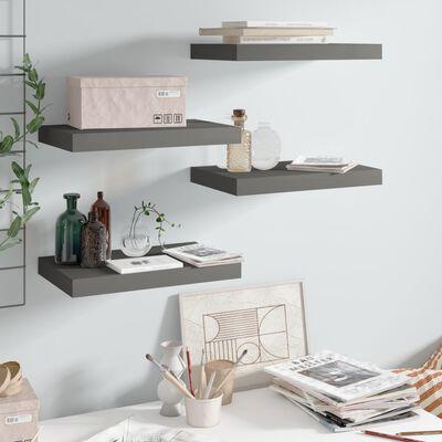 vidaXL Floating Wall Shelves 4 pcs High Gloss Grey 40x23x3.8 cm MDF