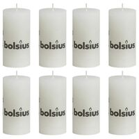 Bolsius Rustic Pillar Candles 8 pcs 100x50 mm White