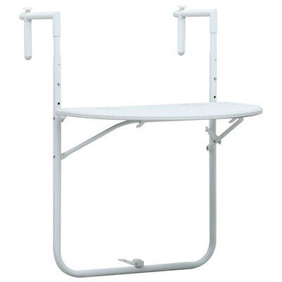 vidaXL Hanging Balcony Table White 60x64x83.5 cm Plastic Rattan Look