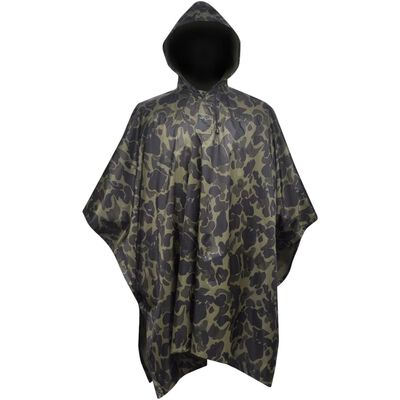 Waterproof Army Rain Poncho for Camping/Hiking Camouflage