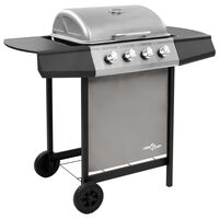 vidaXL Gas BBQ Grill with 4 Burners Black and Silver