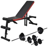 vidaXL Adjustable Sit-up Bench with Barbell and Dumbbell Set 30.5 kg
