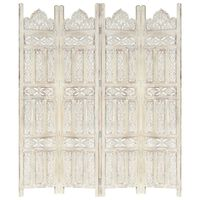 vidaXL Hand carved 4-Panel Room Divider White 160x165 cm Solid Mango Wood