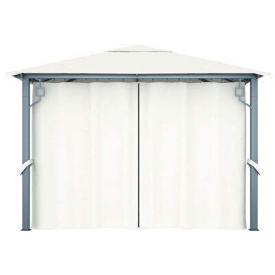 vidaXL Gazebo with Curtain&LED String Lights 3x3 m Cream Aluminium