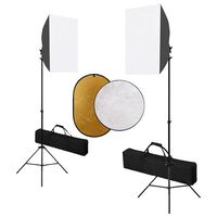 vidaXL Photo Studio Kit with Softbox Lights and Reflector