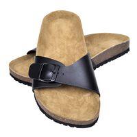 vidaXL Women's Bio Cork Sandal with 1 Buckle Strap Black Size 37