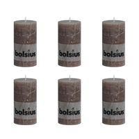 Bolsius Rustic Pillar Candle 130 x 68 mm Taupe 6 pcs