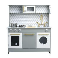 Teamson Kids Childrens Wooden Play Kitchen Grey Toy Cooker TD-12681A
