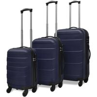 vidaXL Three Piece Hardcase Trolley Set Blue