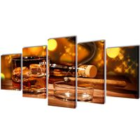 Canvas Wall Print Set Whiskey and Cigar 200 x 100 cm