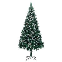 vidaXL Artificial Christmas Tree with Pine Cones and White Snow 210 cm