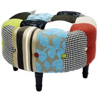 PLUSH PATCHWORK - Round Pouffe Padded Footstool with Wood Legs