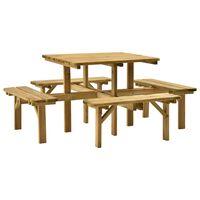vidaXL 4-Side Picnic Table 172x172x73 cm Impregnated Pinewood