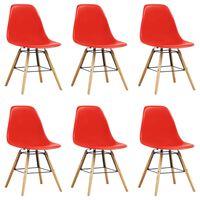 vidaXL Dining Chairs 6 pcs Red Plastic