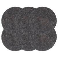 vidaXL Placemats 6 pcs Plain Dark Grey 38 cm Round Jute