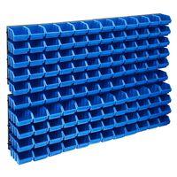 vidaXL 128 Piece Storage Bin Kit with Wall Panels Blue and Black
