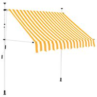 vidaXL Manual Retractable Awning 200 cm Orange and White Stripes