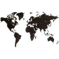 MiMi Innovations Wooden World Map Wall Decoration Luxury Black 180x108 cm