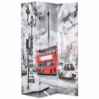 vidaXL Folding Room Divider 120x170 cm London Bus Black and White