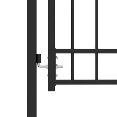 vidaXL Fence Gate with Spikes Steel 100x125 cm Black