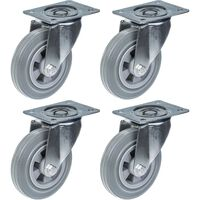 "160mm 6"" castor grey rubber tyre swivel strong 540kg capacity, set of"