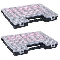 vidaXL Assortment Boxes 2 pcs with Adjustable Dividers 385x283x50 mm Plastic