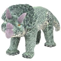 vidaXL Standing Plush Toy Triceratops Dinosaur Green XXL