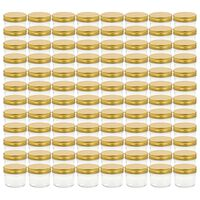 vidaXL Glass Jam Jars with Gold Lid 96 pcs 110 ml