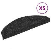 vidaXL Self-adhesive Stair Mats 5 pcs Black 65x21x4 cm Needle Punch