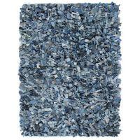 vidaXL Shaggy Rug Denim 80x160 cm Blue