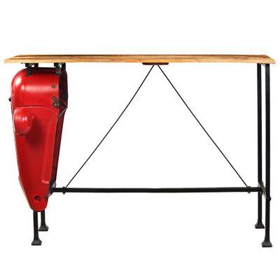 vidaXL Tractor Bar Table Solid Mango Wood Red 60x150x107 cm