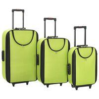 vidaXL Soft Case Trolleys 3 pcs Green Oxford Fabric