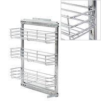 vidaXL 3-Tier Pull-out Kitchen Wire Basket Silver 47x11x56 cm