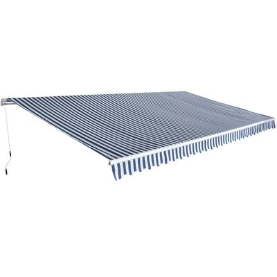 vidaXL Folding Awning Manual-Operated 600 cm Blue and White