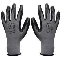 vidaXL Work Gloves Nitrile 24 Pairs Grey and Black Size 9/L