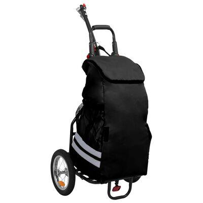 vidaXL Folding Cargo Bike Trailer with Grocery Bag Black