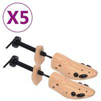 vidaXL Shoe Trees 5 Pairs Size 36-40 Solid Pine Wood