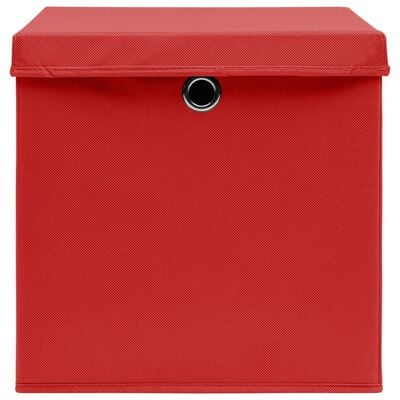 vidaXL Storage Boxes with Covers 10 pcs 28x28x28 cm Red