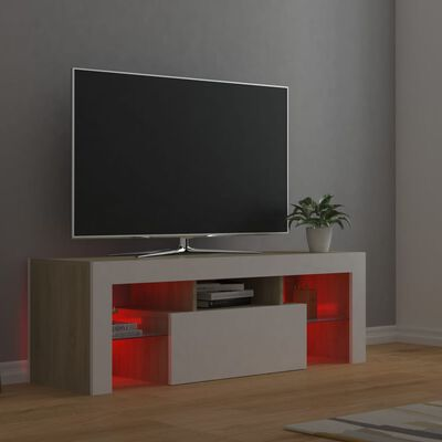vidaXL TV Cabinet with LED Lights White and Sonoma Oak 120x35x40 cm