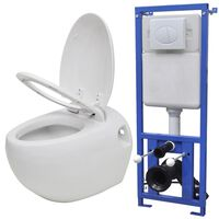 vidaXL Wall Hung Toilet Egg Design with Concealed Cistern White