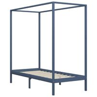 vidaXL Canopy Bed Frame Grey Solid Pine Wood 100x200 cm